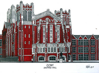 Drawing - Ccny Shepard Hall by Frederic Kohli