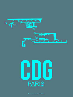 Cities Mixed Media - Cdg Paris Airport Poster 1 by Naxart Studio