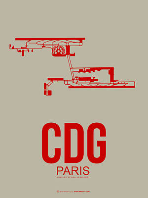 Paris Digital Art - Cdg Paris Airport Poster 2 by Naxart Studio
