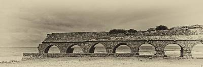 Photograph - Ceasarea Aqueduct 1 Antiqued by Mark Fuller