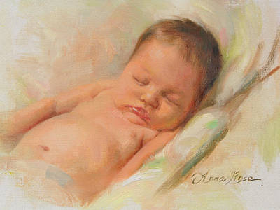 Angelic Painting - Cece At 2 Months Old by Anna Rose Bain