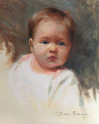Sketch Painting - Cece At 4 Months Old by Anna Rose Bain