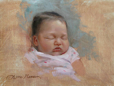 Infant Painting - Cece At 5 Weeks Old by Anna Rose Bain
