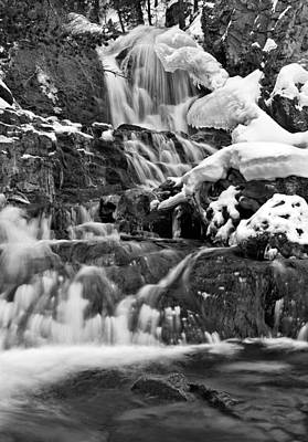 Lost River Mountains Photograph - Cedar Creek Falls Black And White by Leland D Howard