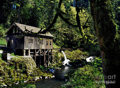 Washington Driftwood Beach Fog Wall Art - Photograph - Cedar Creek Grist Mill - Woodland Washington by Yefim Bam