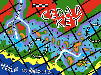 Painting - Cedar Key Chart by Mike Segal