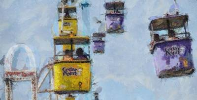 Amusement Parks Painting - Cedar Point Aerial Tram by Dan Sproul