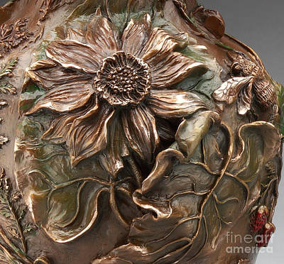 Sculpture - Cedar Ridge Bronze Wildflower Vase - Detail by Dawn Senior-Trask