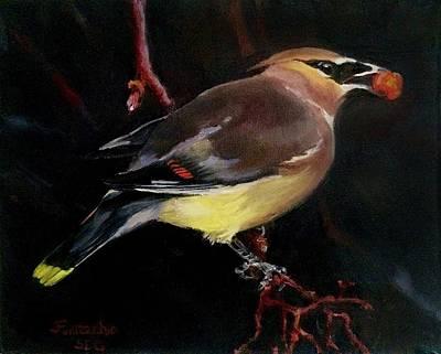 Cedar Waxing Painting - Cedar Wax Wing by Jan Fontecchio