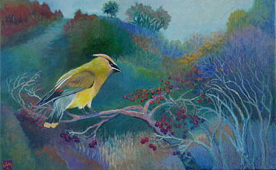 Cedar Waxwings Painting - Cedar Waxwing by Julia Miller