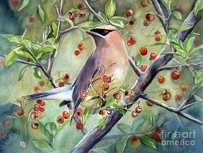 Cedar Waxwings Painting - Cedar Waxwing On Berry Branch by Patricia Pushaw