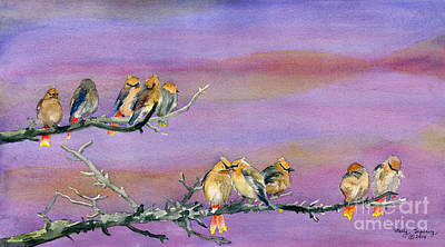 Painting - Bohemian Waxwings Birds by Melly Terpening