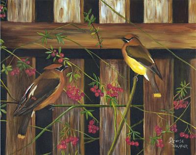Cedar Waxwings Painting - Cedar Waxwings by Denise Wagner