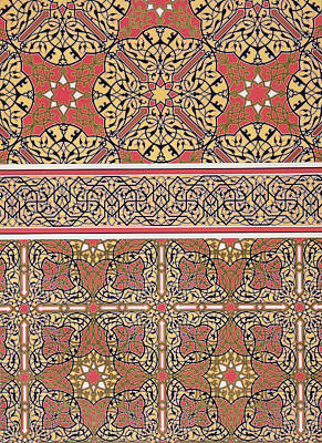 Ceiling Arabesques From The Mosque Of El-bordeyny Art Print by Emile Prisse d Avennes