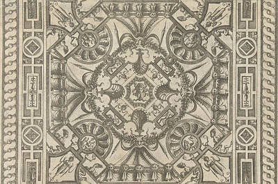 Medusa Drawing - Ceiling With A Medusa Head In The Middle by Pieter Van Der Heyden And Jacob Floris And Hieronymus Cock