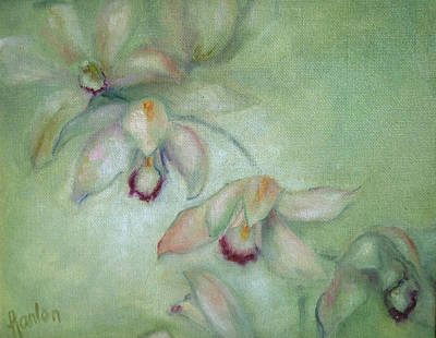 Painting - Celadon Cymbidiums by Susan Hanlon