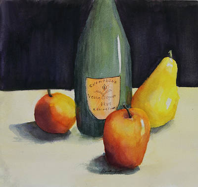 Wine Bottle Painting - Celebrate by Maria Hunt