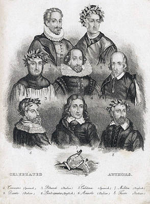Celebrated European Authors Art Print by Folger Shakespeare Library