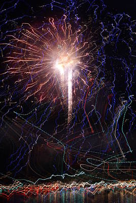 Celebration Fireworks Grand Lake Co 2007 Art Print by Jacqueline Russell