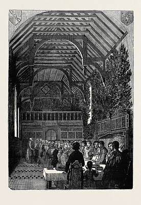 Easter Celebration Drawing - Celebration Of Palm Sunday In The Hall Of Sackville College by English School