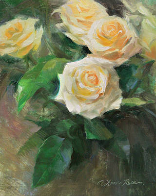 Floral Still Life Painting - Celebration Roses by Anna Rose Bain