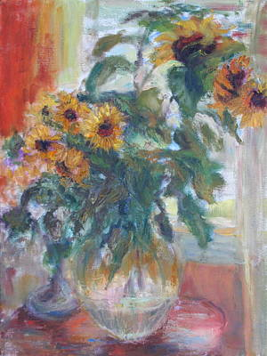 Sugar Skulls - Sale - Sunflowers in Window Light - Original Impressionist - Large Oil Painting by Quin Sweetman