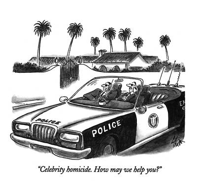 Celebrity Homicide.  How May We Help You? Art Print by Frank Cotham