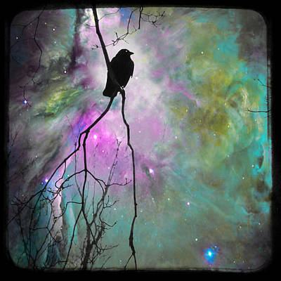 Crow Silhouette Digital Art - Celestial Dream Of Crow by Gothicrow Images