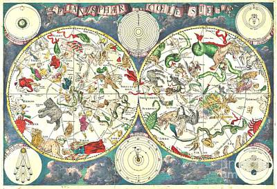 Painting - Celestial Map - 17th Century by Roberto Prusso