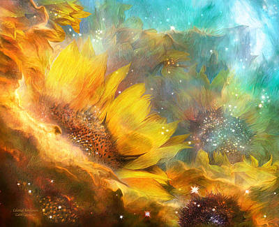 Mixed Media - Celestial Sunflowers by Carol Cavalaris