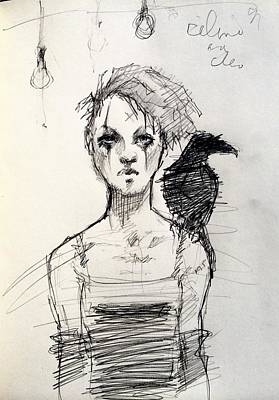 Raven Drawing - Celine And Cleo by H James Hoff