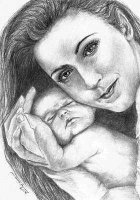 Celine Dion And Her Baby Art Print by Salman Ameer