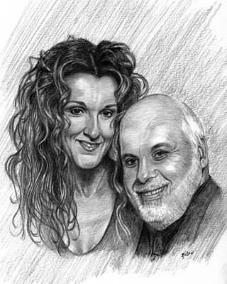 Celine Dion Drawing - Celine Dion And Rene Angelil by Lou Ortiz