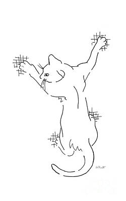Drawing - Cell-phone-cover-cat1 by Gordon Punt