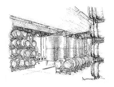 Wine Cellar Drawing - Cellars Of Marynissen Winery by Steve Knapp