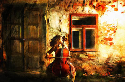 Female Mixed Media - Cellist By Night by Georgiana Romanovna