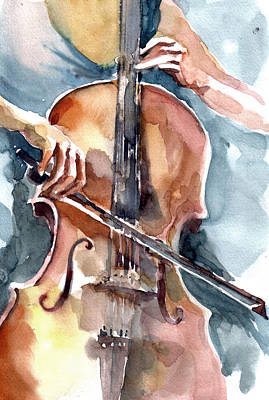 Art Print featuring the painting Cellist by Faruk Koksal