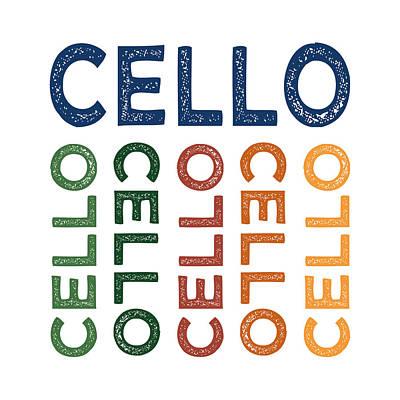 Cellist Digital Art - Cello Cute Colorful by Flo Karp