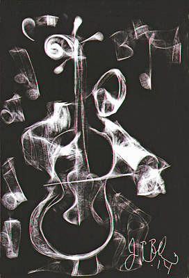 Drawing - Cello Player  by Jon Baldwin  Art