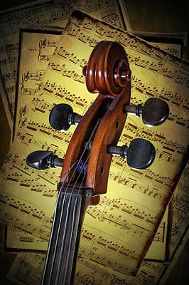 Photograph - Cello Scroll With Sheet Music by Randall Nyhof
