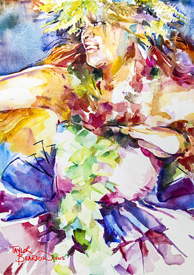 Hawaii Hula Dancer Painting - Cellophane Girl by Penny Taylor-Beardow