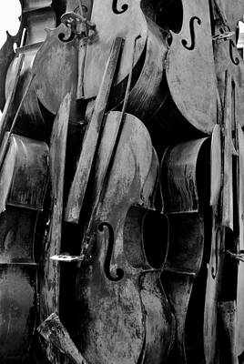 Cellos 6 Black And White Print by Rob Hans