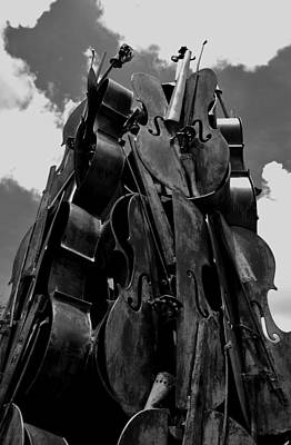 Cellos In The Sky Black And White Art Print