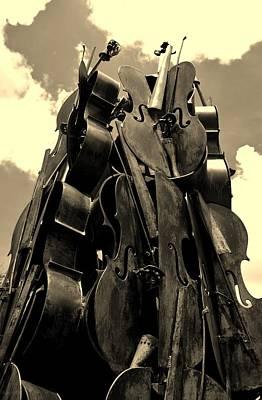 Cellos In The Sky Sepia Art Print