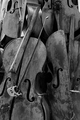 Cellos4 Black And White Art Print