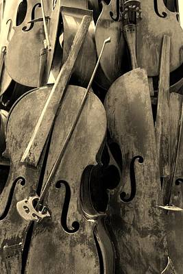 Cellos4 Sepia Art Print