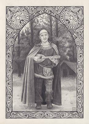 Celtic Bard Art Print by Tania Crossingham