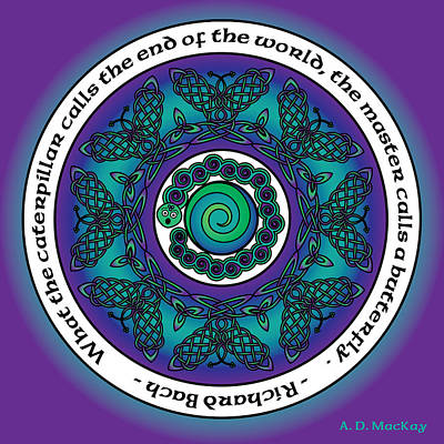 Mandala Photograph - Celtic Butterfly Mandala by Celtic Artist Angela Dawn MacKay
