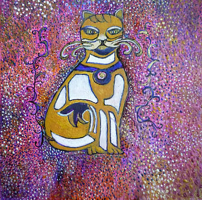 Egg Tempera Painting - Celtic Cat Totem by Catherine Meyers