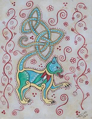 Celtic Cattus Art Print by Beth Clark-McDonal